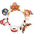 christmas round frame with santa elf snowman re vector image