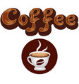 coffee logo lettering and coffee cup icon vector image