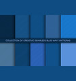collection blue trendy seamless curve outline vector image