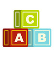 colorful alphabet cubes icon isolated vector image vector image