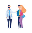 couple and doctor on infertility consultation flat vector image vector image