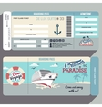 Cruises to Paradise boarding pass design vector image vector image