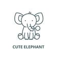 cute elephant line icon cute elephant vector image vector image