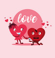 cute hearts couple with wine cup characters vector image