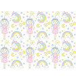 cute unicorn pattern with girl and rainbow vector image vector image