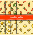 fruit and vegetables seamless pattern set vector image vector image