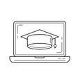 graduation cap on computer screen line icon vector image vector image