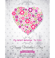 grey background with valentine heart of spring flo vector image vector image