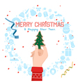 Hand holding a christmas tree cookie for christmas vector image