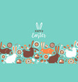 happy easter cute flower rabbit card background vector image