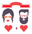 Hipster man and woman love card vector image