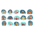 houses covered with snow xmas and winter season vector image