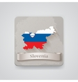 icon slovenia map with flag vector image
