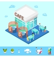 isometric city city cafe with tables and people vector image vector image