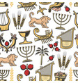 israel traditional symbols seamless pattern vector image vector image