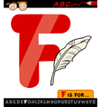 letter f with feather cartoon vector image vector image