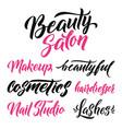 logo beauty salon lettering custom handmade vector image vector image