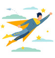 male superhero to rescue in minimalist style vector image vector image