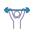 man training with barbell color icon vector image