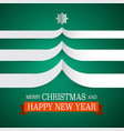 merry christmas card with paper tree vector image vector image