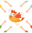 of cartoon hands with bird vector image