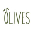 olives thin line emblem green olive branch with vector image vector image