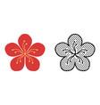 peach blossom icon set plant symbol vector image