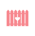 Pink fence with cut heart vector image vector image