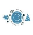 Place Setting Design with Plate Spoon Fork and Cup