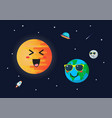 planet earth wearing sunglasses againts sun vector image