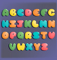 plump handwritten alphabet colorful set vector image