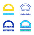 protractor and ruler icon set in flat and line vector image