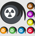 radiation icon sign Symbol on eight colored vector image