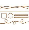 realistic ropes yellow or brown curved nautical vector image