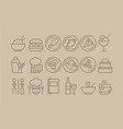 restaurant outline icons big set kitchen vector image