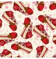 Seamless pattern with pieces of cake strawberries vector image