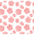 seamless pattern with pink and white roses vector image vector image