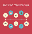 set of history icons flat style symbols with vector image