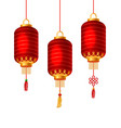 set of red chinese lanterns for happy new year vector image