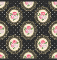 shabchic rose seamless pattern on black polka vector image vector image