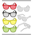 sunglasses fashion technical drawings templ vector image