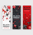 three black friday vertical banners with realistic vector image vector image