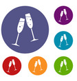 two glasses of champagne icons set vector image vector image