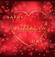 valentines day background with gold heart and vector image vector image