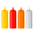 various condiment bottles mustard ketchup chili vector image