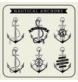 Vintage nautical anchors set label vector image