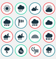 weather icons set collection of douche sun-cloud vector image vector image