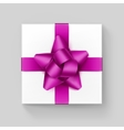 White Square Gift Box with Dark Pink Ribbon Bow vector image