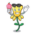 with ice cream daffodil flower character cartoon vector image