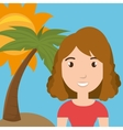woman palm sun travel vector image vector image